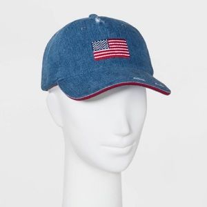 Mad Love Accessories - Americana Ball Cap Denim Patch Red Flag Hat NWT